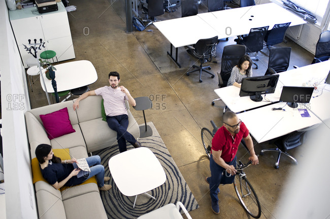 Overhead view of coworkers in casual office