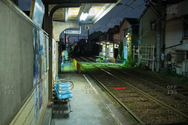 Osaka, Japan - April 7, 2015: An empty train station in Tengachaya, Osaka, Japan