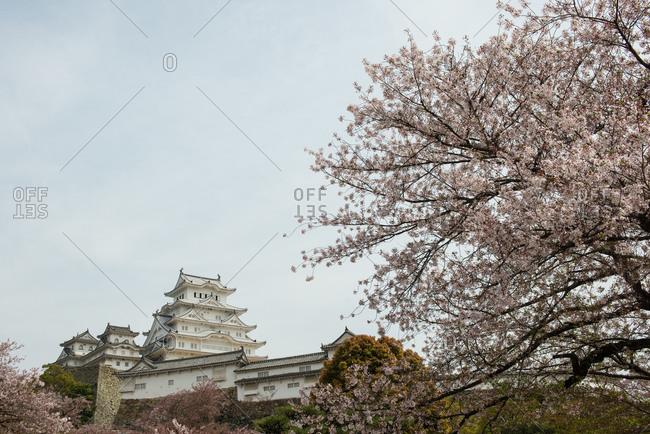 Hyougoken, Japan - April 11, 2015: Himeji castle during the day in Hyoukoken, Japan