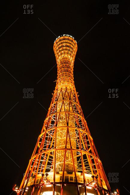 Kobe, Japan - April 13, 2015: The Kobe Port Tower at night
