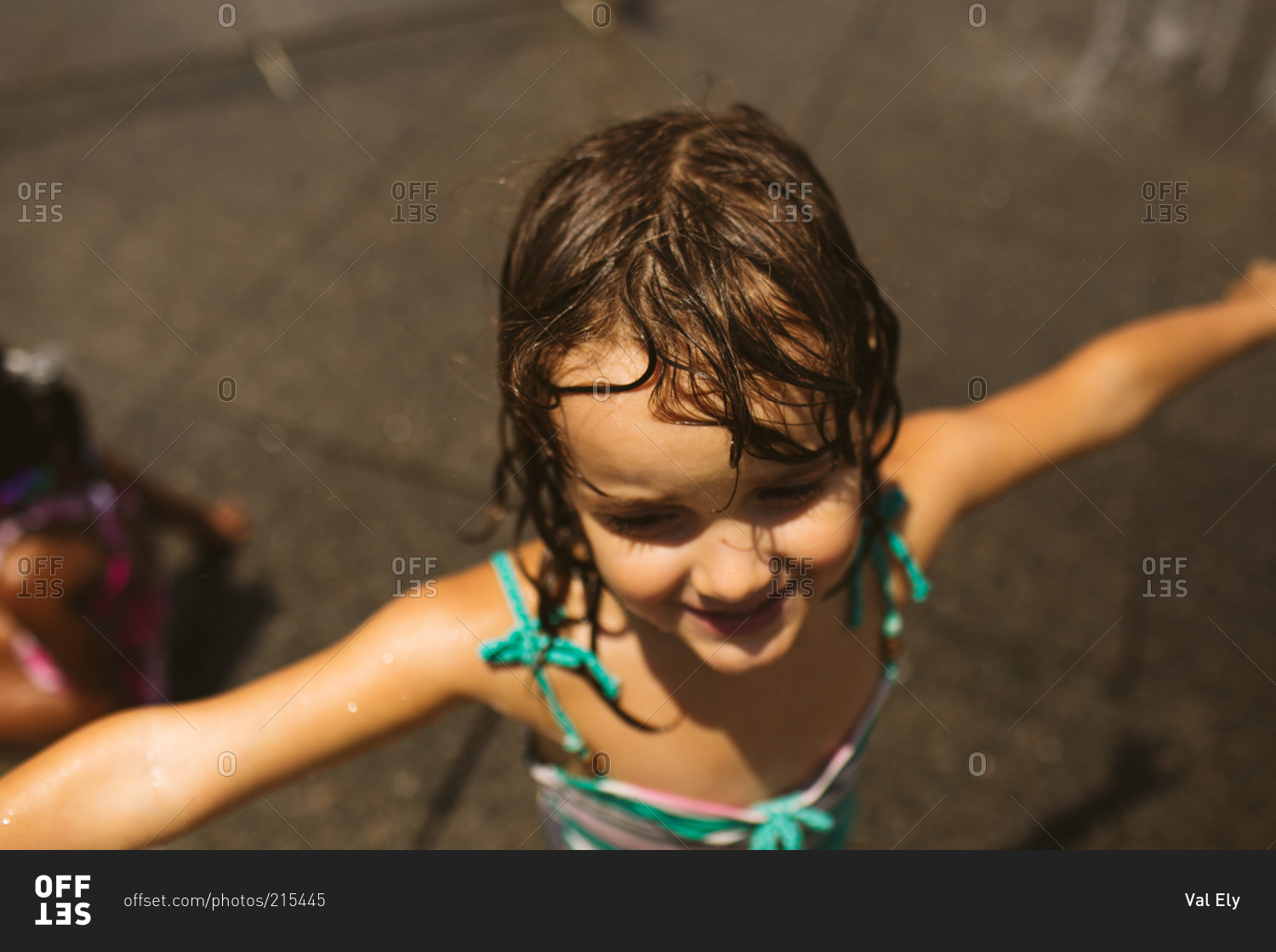 portrait of a brunette girl with wet hair stock photo - offset