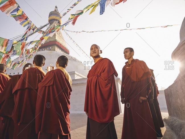 Kathmandu, Nepal - February 9, 2013: Buddhist monks during morning ritual, Kathmandu, Nepal