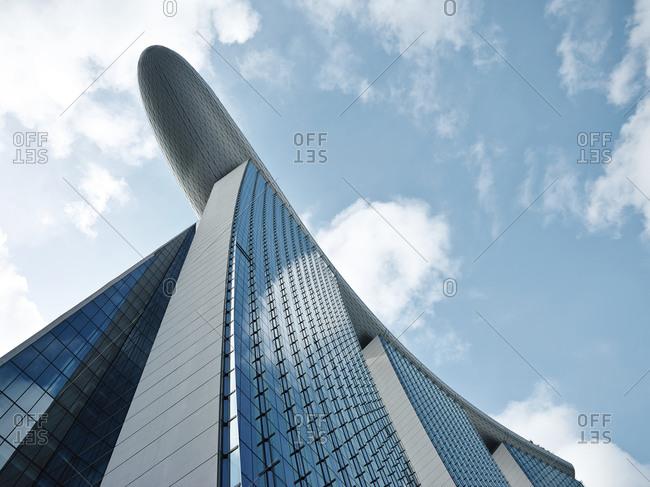 Singapore - February 18, 2013: Close up of luxury hotel in Singapore