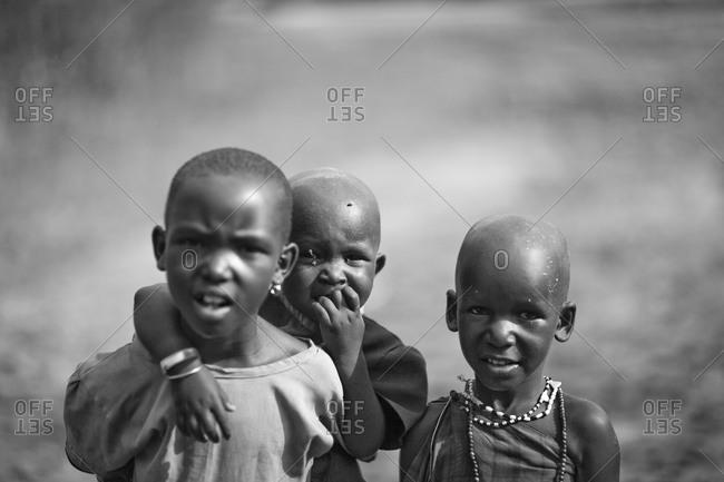 Tarangire, Tanzania - January 8, 2010: Maasai village children in Tarangire, Tanzania