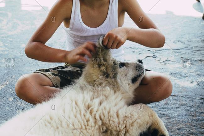 Young boy sitting scratching dog\'s ear