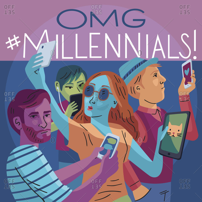 People of the Millennial generation using wireless devices