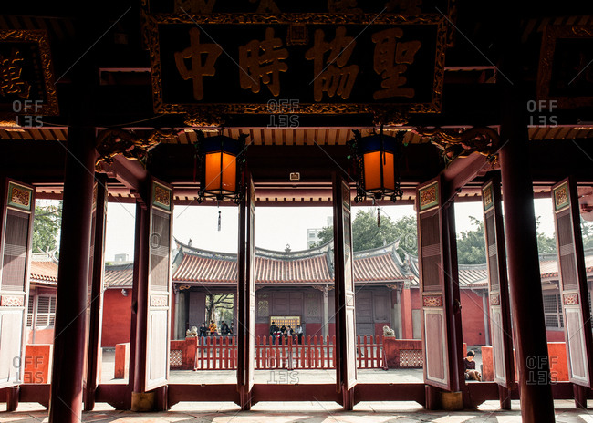 Taiwan - December 30, 2013: A traditional Taiwanese courtyard