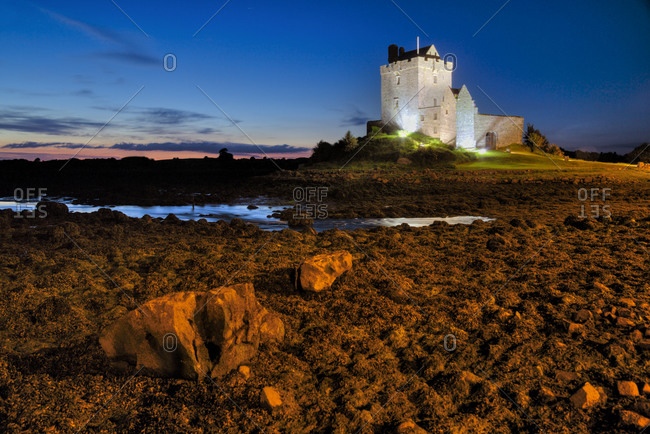 Dunguaire Castle at dusk in Kinvarra, Ireland