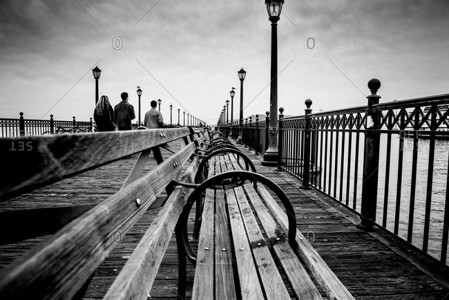 Bench on a boardwalk in San Francisco, California, USA