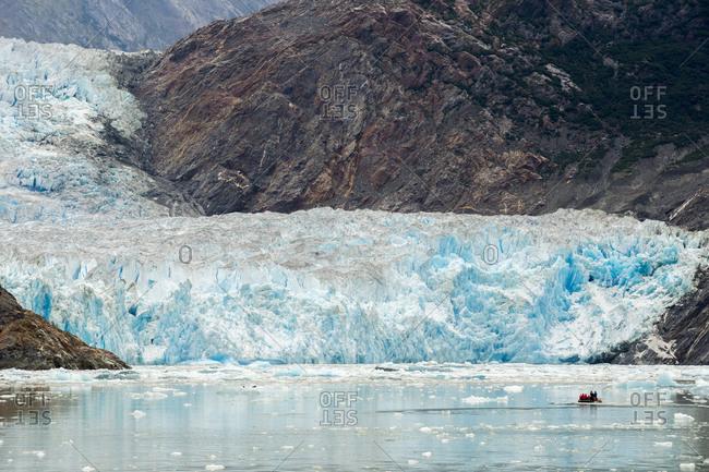 Boat nearby the South Sawyer Glacier, Tracy Arm fjord, Alaska