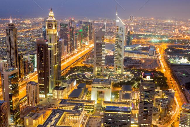 Dubai, UAE - April 5, 2014: Skyline of Dubai, UAE at night