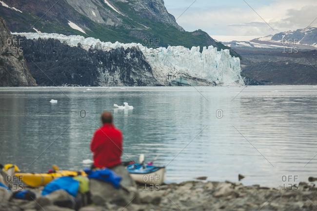 Sea kayaker enjoys view of glacier in Alaska