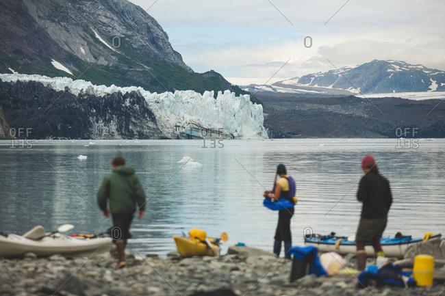 Sea kayakers enjoy view of glacier in Alaska