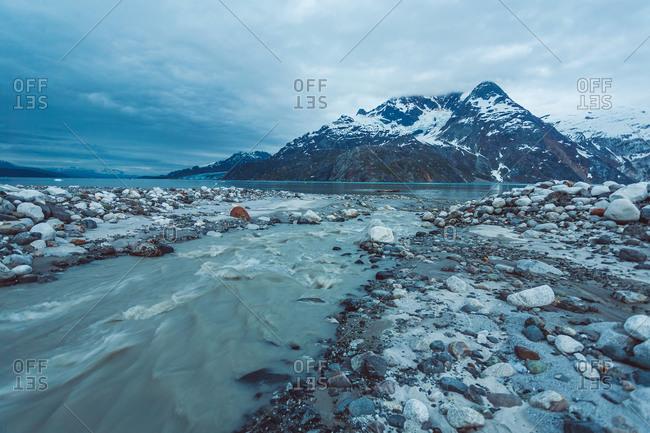 Rugged shoreline landscape in Alaska