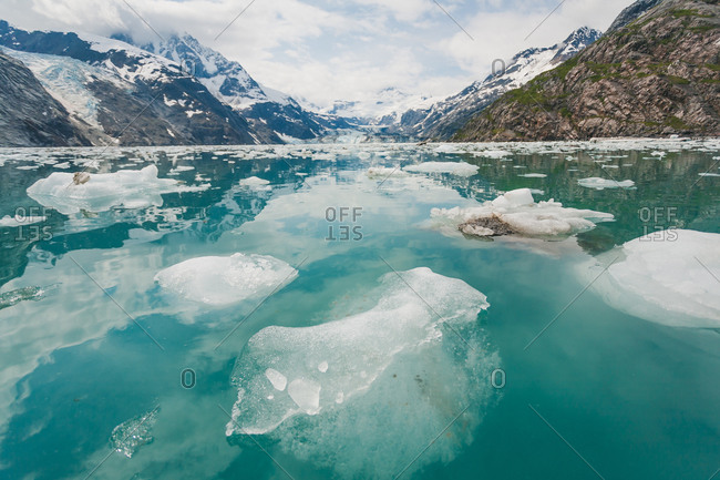 Rugged coastal, icy landscape in Alaska