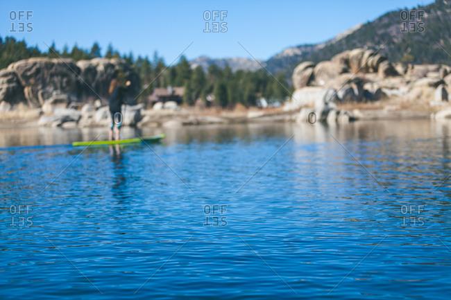 Standup paddling Boulder Bay, Big Bear Lake, California