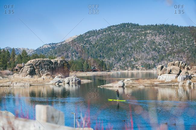 Standup paddler, Big Bear Lake, California