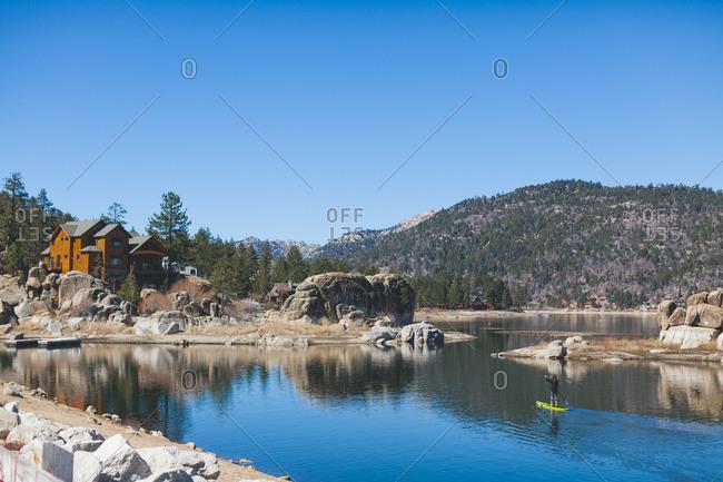 Standup paddler in Big Bear Lake, California