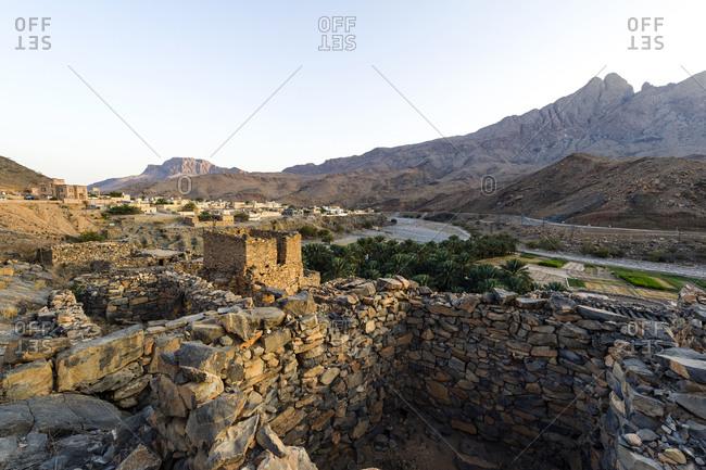 Ruins of an abandoned village in Wadi Nakhar,  Oman