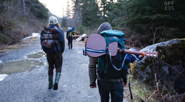 Backpackers on trail in Shames Mountain, British Columbia
