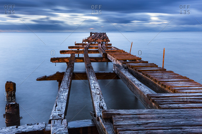 Broken old jetty at sunset, Punta Arenas