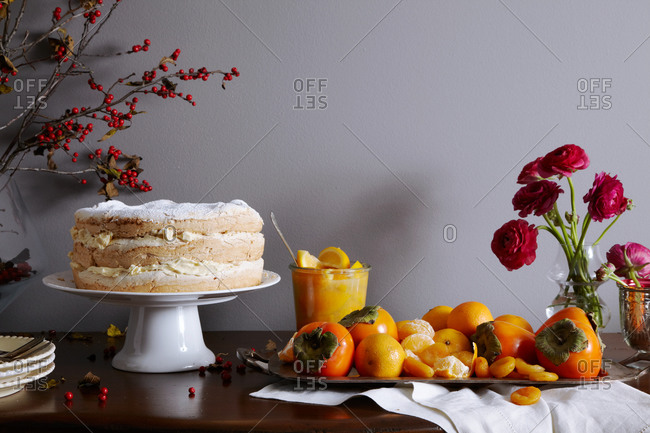 Sideboard arranged with Thanksgiving dessert