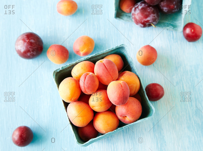 Overhead view of containers of fresh apricots and plums