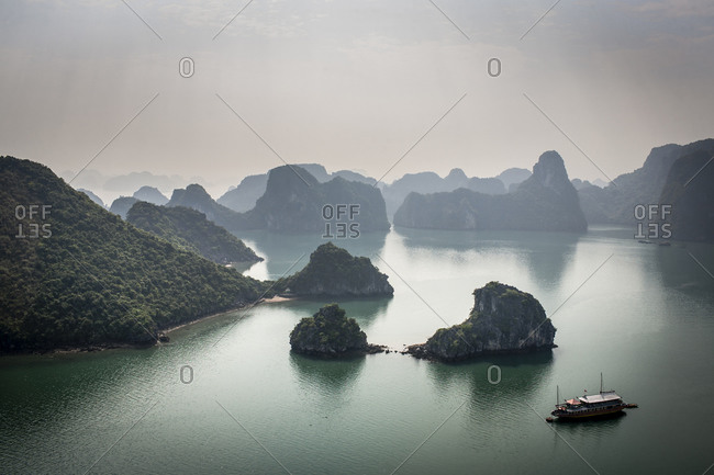 View over the limestone karsts of Halong Bay in Vietnam