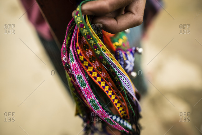 Hmong Holds Out Bracelets For In Sapa Vietnam Stock Photo Offset
