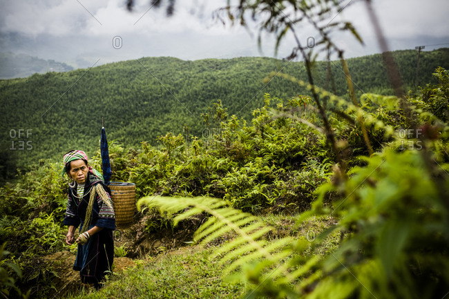 Hmong woman waits along a mountainside