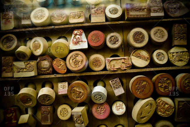 Stamps from a stamp maker in Hanoi, Vietnam