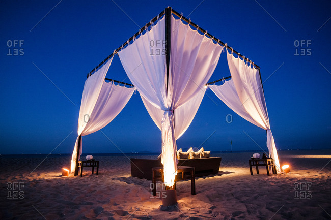 Romantic cabana on the middle of a beach