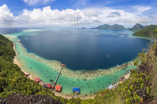 February 2, 2015: Tun Sakaran Marine Park, Borneo, Malaysia from above