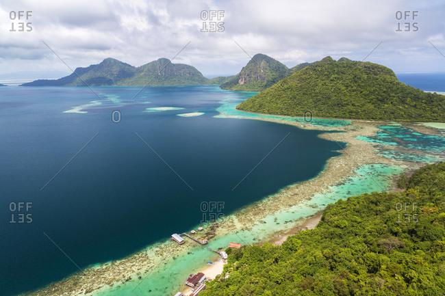 February 2, 2015: Tun Sakaran Marine Park, Borneo, Malaysia bird's eye view