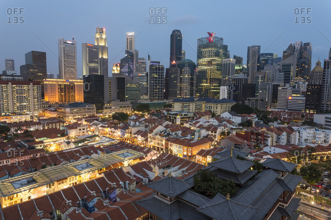 January 24, 2015: View over Buddha Tooth Relic Temple dusk, Chinatown, Singapore