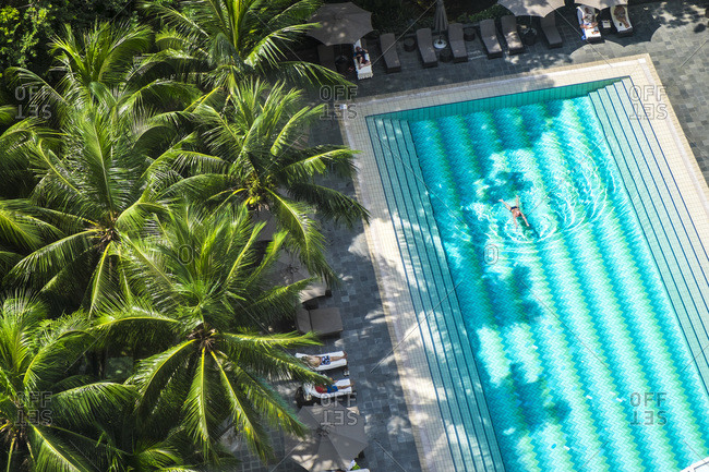 January 23, 2015: Elevated view over hotel swimming pool, Singapore