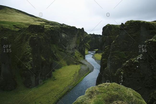 Verdant river gorge in Iceland
