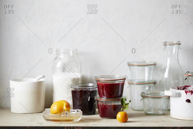 Preserved berries in jars