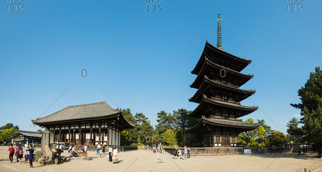 April 25, 2015: The historic Buddhist temple of Kofuku-ji in Nara, Japan