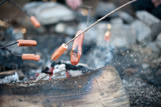Sausages being roasted over a campfire