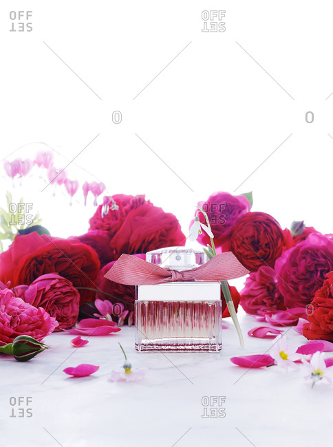 A perfume bottle surrounded by roses