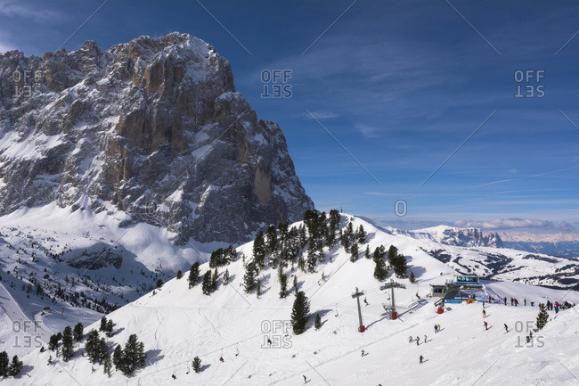 Saslong and Sella Group in Val Gardena in the Dolomites, Italy