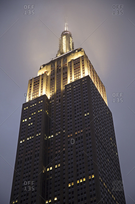 September 14, 2014: The Empire State Building illuminated at dusk, New York City