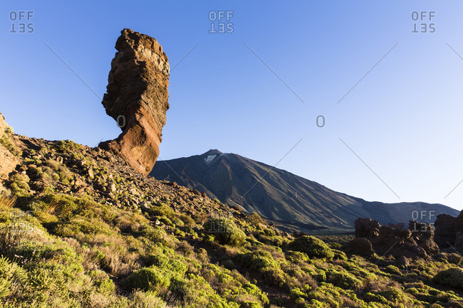 Roque Cinchado with Mount El Teide at sunrise, Teide National Park, Tenerife, Canary Islands
