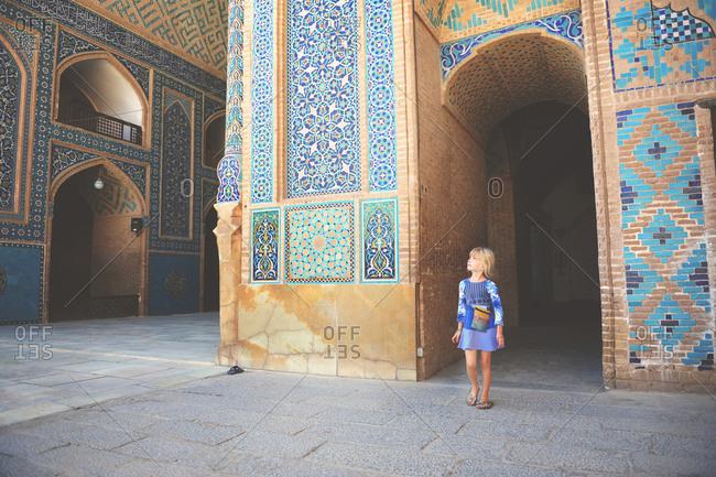 Yazd, Iran - October 20, 2014: Little girl the Jameh Mosque of Yazd