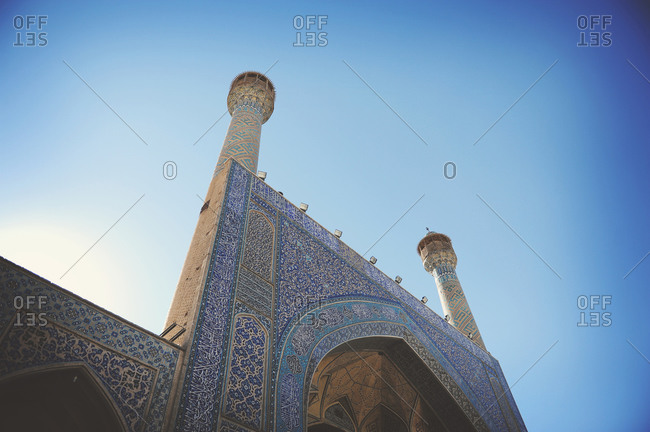 Isfahan, Iran - October 22, 2014: Detail of the iwan of Jameh Mosque of Isfahan