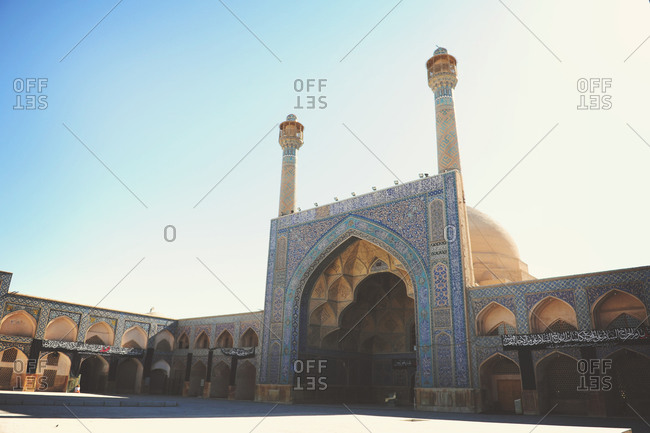 Isfahan, Iran - October 22, 2014: One of the iwans of Jameh Mosque of Isfahan