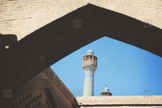 The minarets of Jameh Mosque of Isfahan, Iran