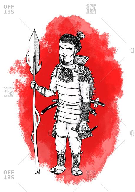A  Japanese samurai warrior