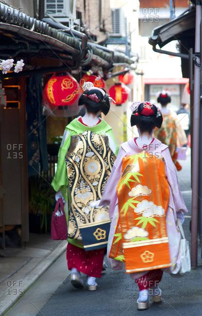 Geisha walking on the streets of Kyoto